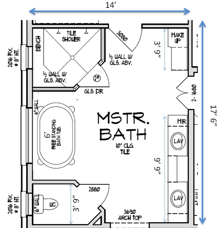 Master bathroom layouts master bathroom design layout for Efficient master bathroom layouts